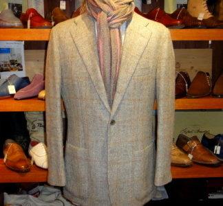 【サルトリオ sartorio】秋冬 ツイード毛アンコン仕立てウインドーペン柄ジャケット 52 薄灰
