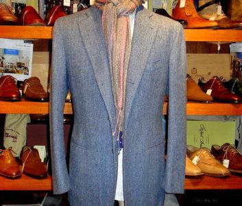 【サビーノ SARTORIA SABINO】 秋冬 ヘリンボーン織りツイードジャケット 50 水色