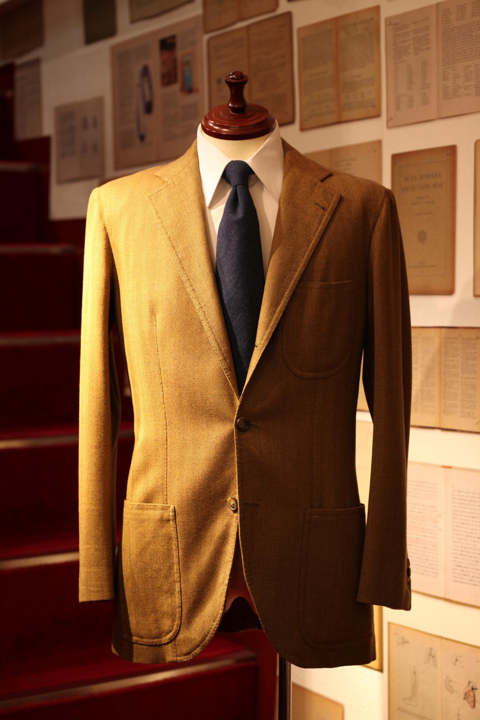 【チャルディCIARDI】注文服 秋冬ウールジャケット 44~46 キャメル色