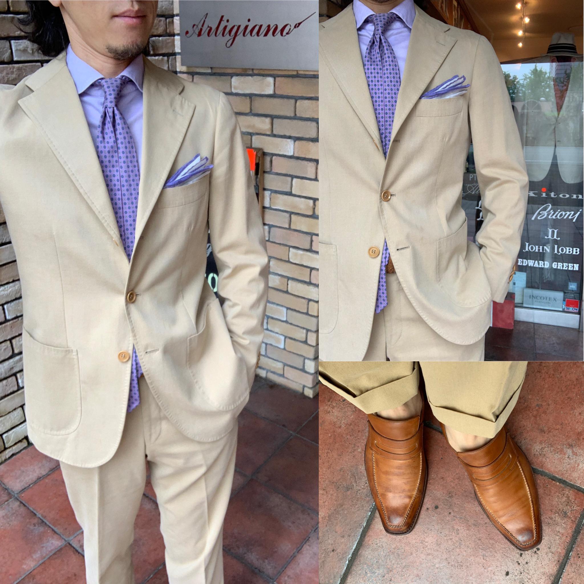◆夏に映えるベージュ色スーツ着て出かけよう◆