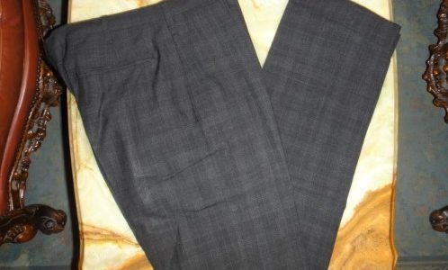 【アンティコパンタローネ Antico Pantalone】春夏チェック格子柄グレーパンツ 46
