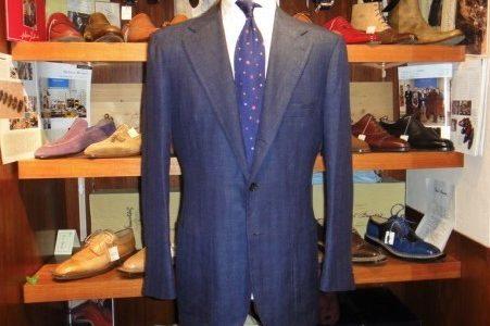 【ピロッツィ Pirozzi】注文服 絹麻毛ネイビージャケット 50 紺