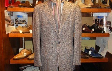 【キトン Kiton】秋冬 カシミヤ100%ホームスパン織りツイードジャケット 50