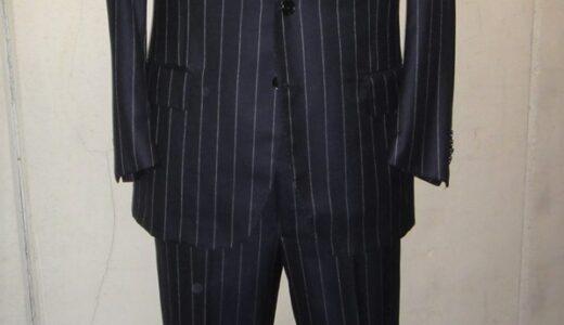 【ルイジボレッリ BORRELLI】合い物 注文服 ストライプ柄ネイビースーツ 50