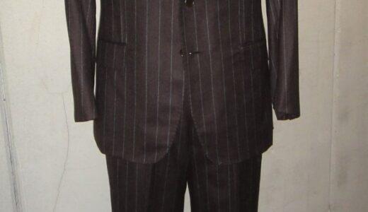 【ルイジボレッリ BORRELLI】秋冬 注文服 ストライプ柄ブラウンスーツ 50