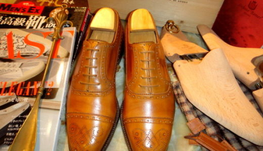 20万ステファノベーメルBEMERベーメル名靴セミブローグ40.5黄茶  SSB0023