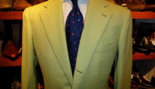 貴重パニコpanico究極ナポリ仕立て春夏向け麻綿ジャケット50黄緑  GPC0010
