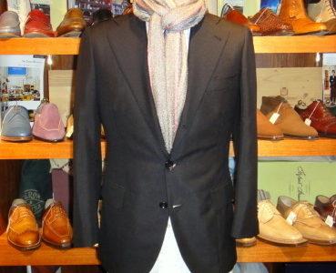 【ダルクオーレDALCUORE】注文服 合い物ウール濃紺ネイビージャケット 42~44