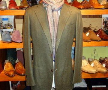 【ダルクオーレDALCUORE】秋冬カシミヤ混ウールジャケット 48 オリーブ濃緑
