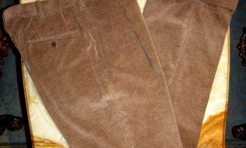 【キトン Kiton】カシミヤ混紡コットンコーデュロイ綿スラックスパンツ 46 薄茶