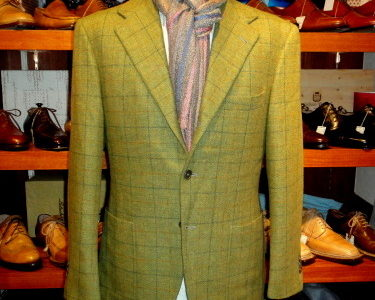 イタリア製フィレンツェ仕立て【リベラーノLiverano & Liverano】秋冬向け格子柄ツイードジャケット黄緑色50サイズL  GLI50GN128