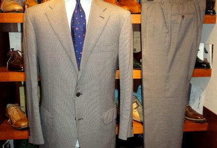 【ブリオーニ Brioni】合い物180'sウール千鳥格子柄スーツ 52