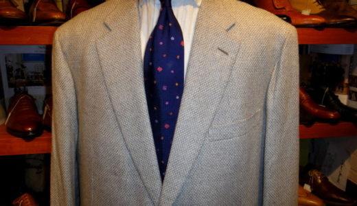 【ブリオーニ Brioni】合い物カシミヤ100%ジャガード織りジャケット 58 薄灰色